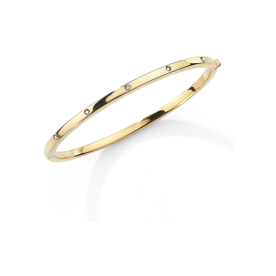 9ct Thin Gold Bangle With Diamonds
