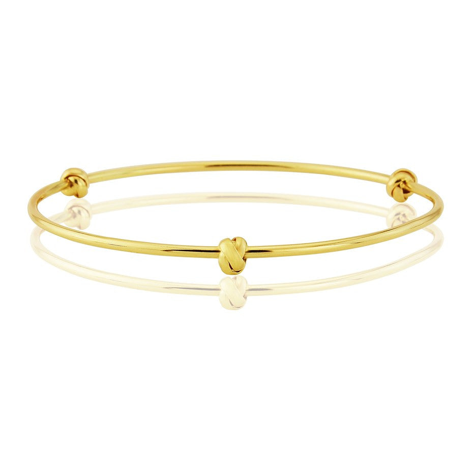 9ct Gold Bangle With Love Knots by Argent London - Art Jewellery Store: Song of Jewellery