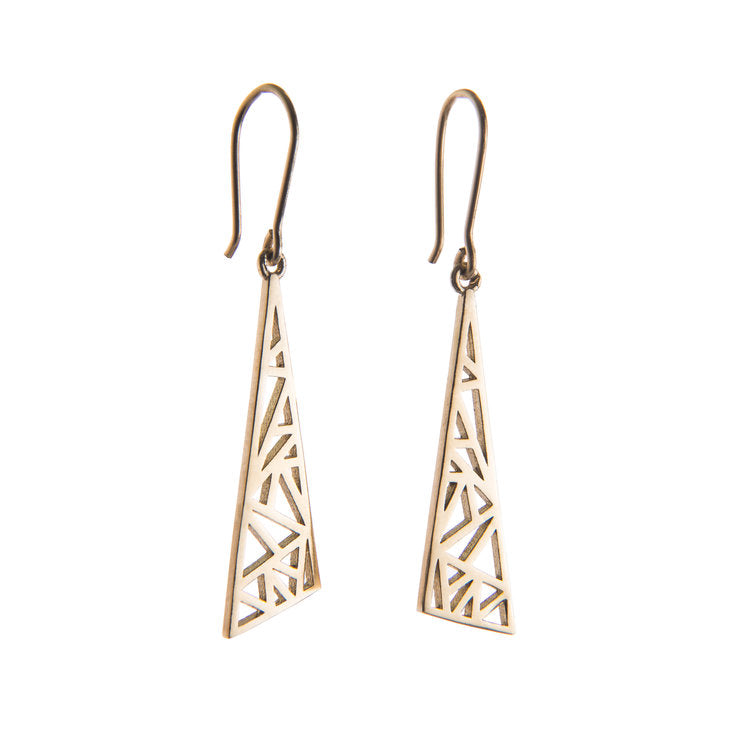 9ct Yellow Gold Flare Drop Earrings by Miriam Wade - Art Jewellery Store: Song of Jewellery