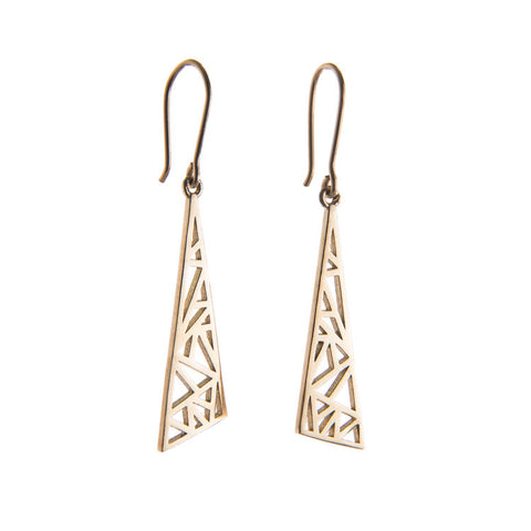 9ct Yellow Gold Flare Drop Earrings