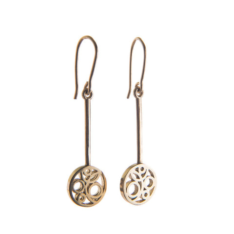 9ct Yellow Gold Flow Long Earrings