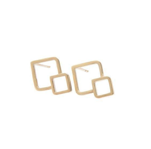 9ct Yellow Gold Fusion Stud Earrings - Squares by Miriam Wade - Art Jewellery Store: Song of Jewellery