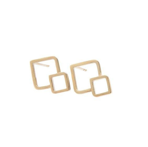 9ct Yellow Gold Fusion Stud Earrings - Squares