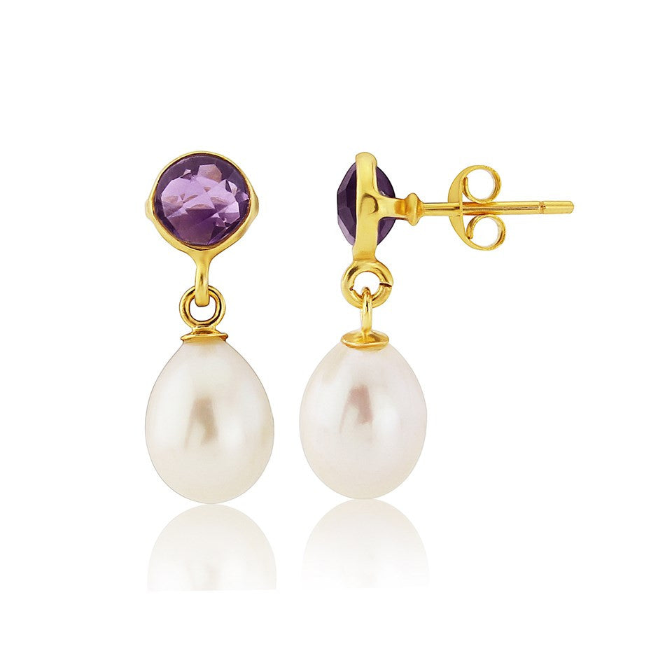 Amethyst and Pearl Gold Vermeil Stud Earrings by Argent London - Art Jewellery Store: Song of Jewellery