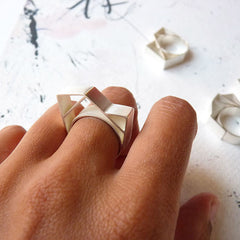 Geometry Love: Abstract Geometric Statement Ring by Ana Pina - Art Jewellery Store: Song of Jewellery