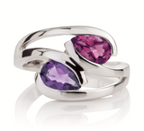 Amethyst and Rhodolite Love Birds Ring by Manja - Art Jewellery Store: Song of Jewellery
