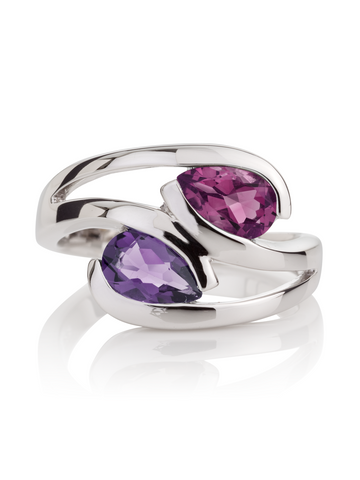 Amethyst and Rhodolite Love Birds Ring