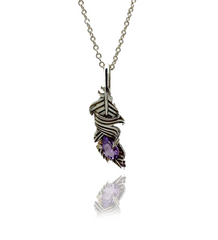Amethyst Feather Necklace by Sebastian Pintea - Art Jewellery Store: Song of Jewellery