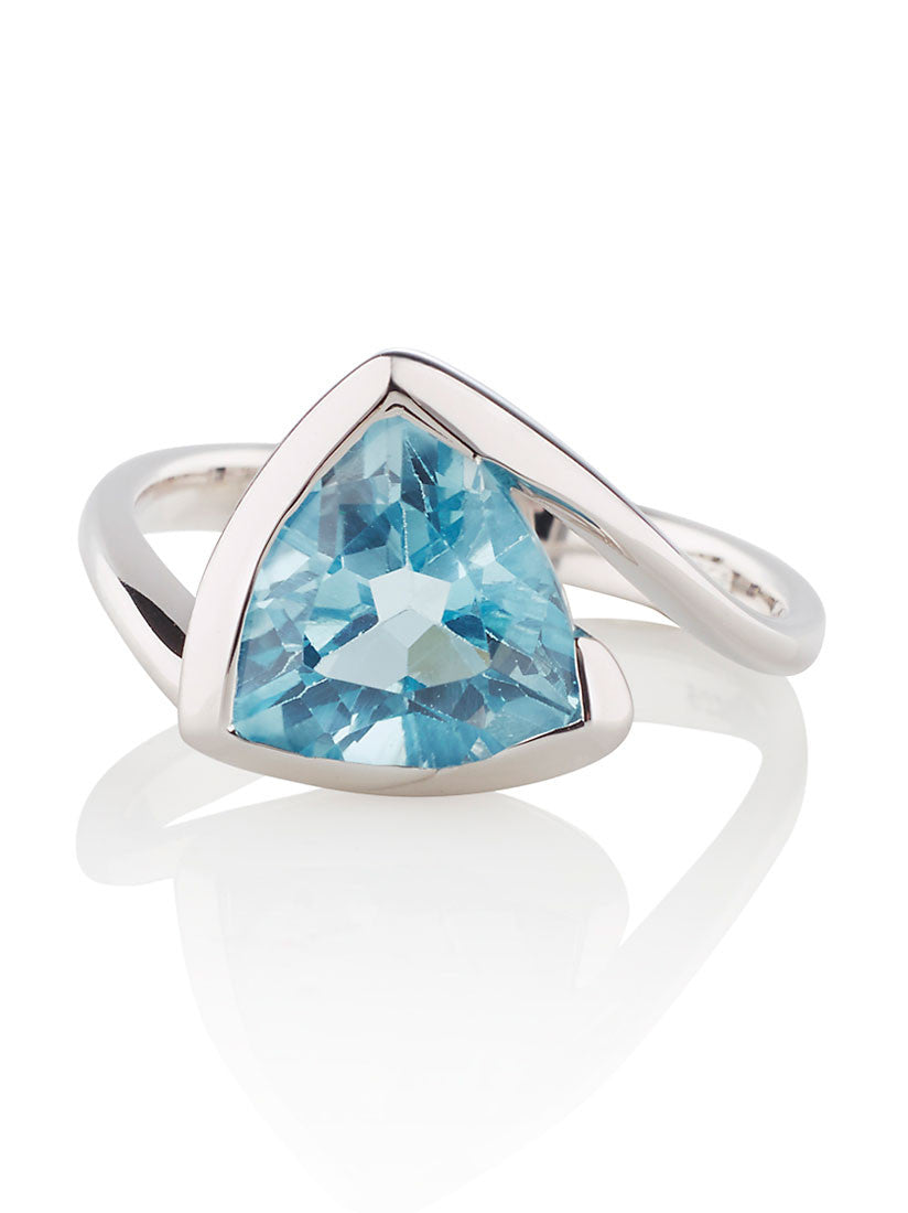Amore Blue Topaz Silver Ring by Manja - Art Jewellery Store: Song of Jewellery