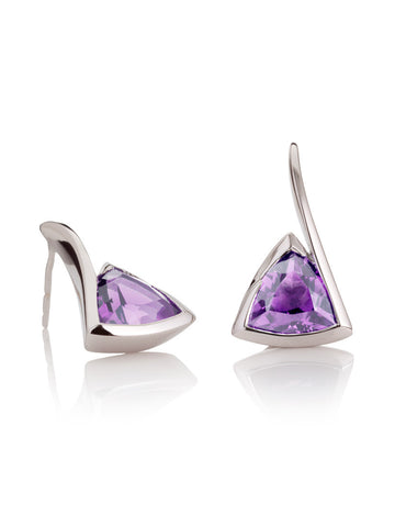 Amore Sterling Silver Amethyst Earrings