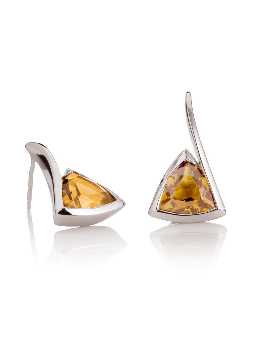 Amore Sterling Silver Citrine Earrings by Manja - Art Jewellery Store: Song of Jewellery