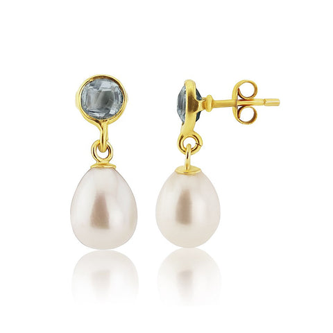 Blue Topaz and Pearl Gold Vermeil Stud Earrings
