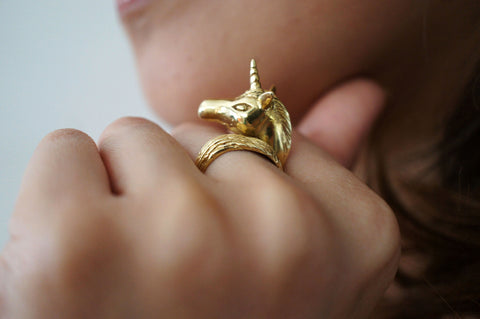 Golden Unicorn Ring by Monvatoo - Art Jewellery Store: Song of Jewellery