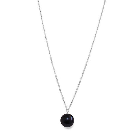 Black XXL Pearl Pendant on Long Necklace