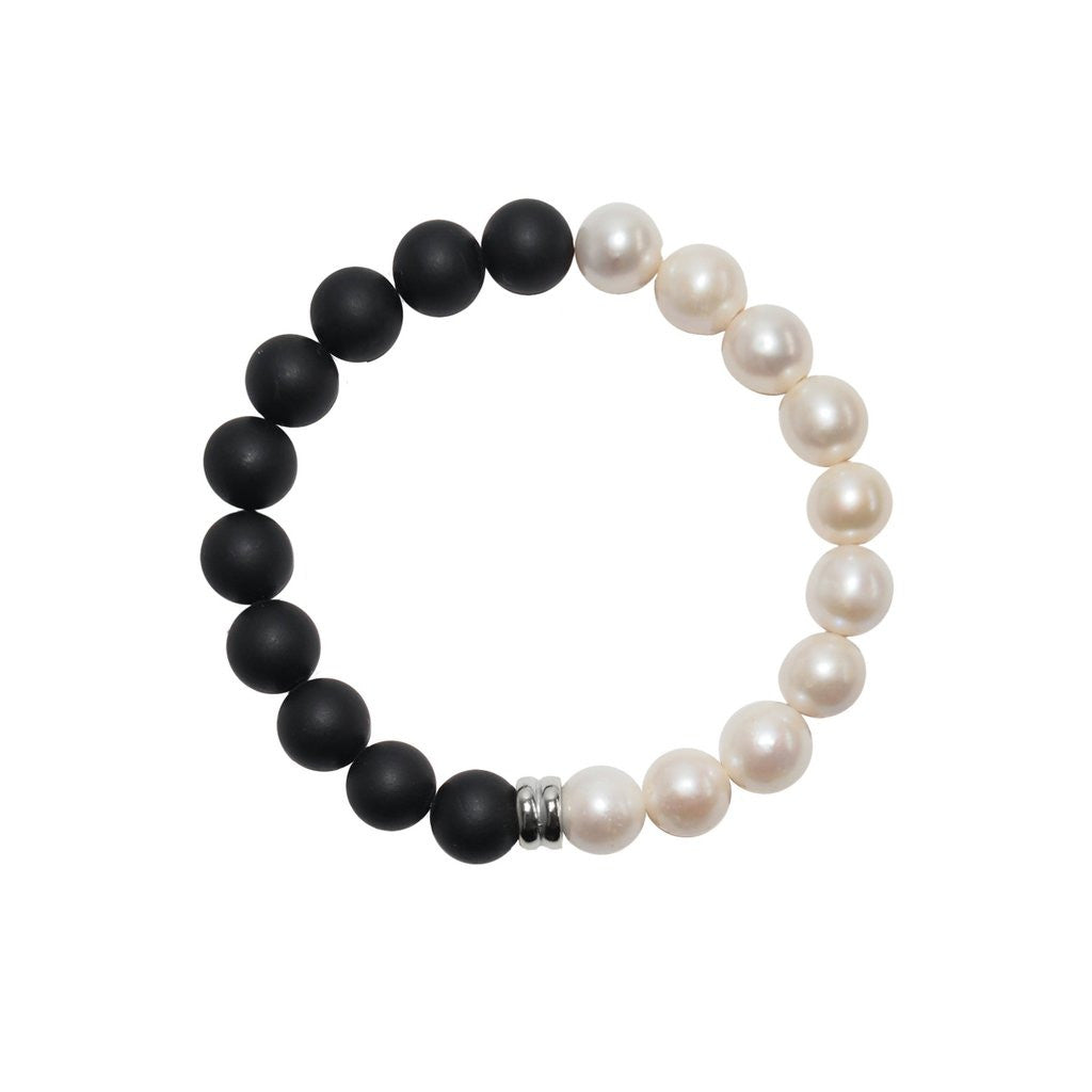 Contemporary style: The Orbis Pearl & Onyx Bracelet by British designer ORA Pearls