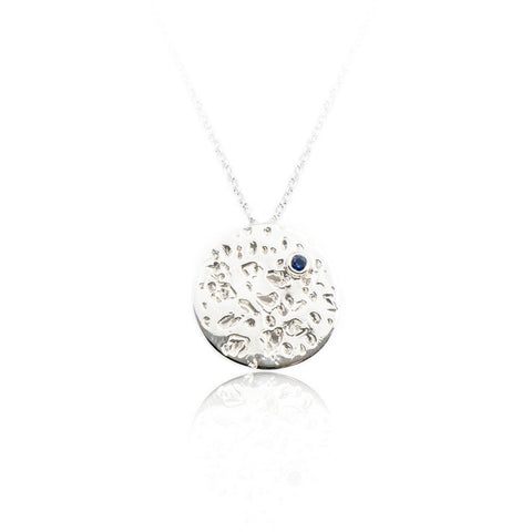 Sterling Silver Disc Necklace with Blue Sapphire