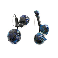 Blue Multi-Spheres Asymmetric Earrings by Cleopatra Cosulet - Art Jewellery Store: Song of Jewellery