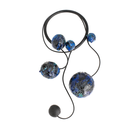 Blue Multi-Spheres Art Necklace