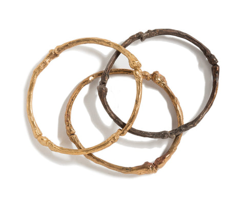 'Bones' Bangles in Silver or Bronze