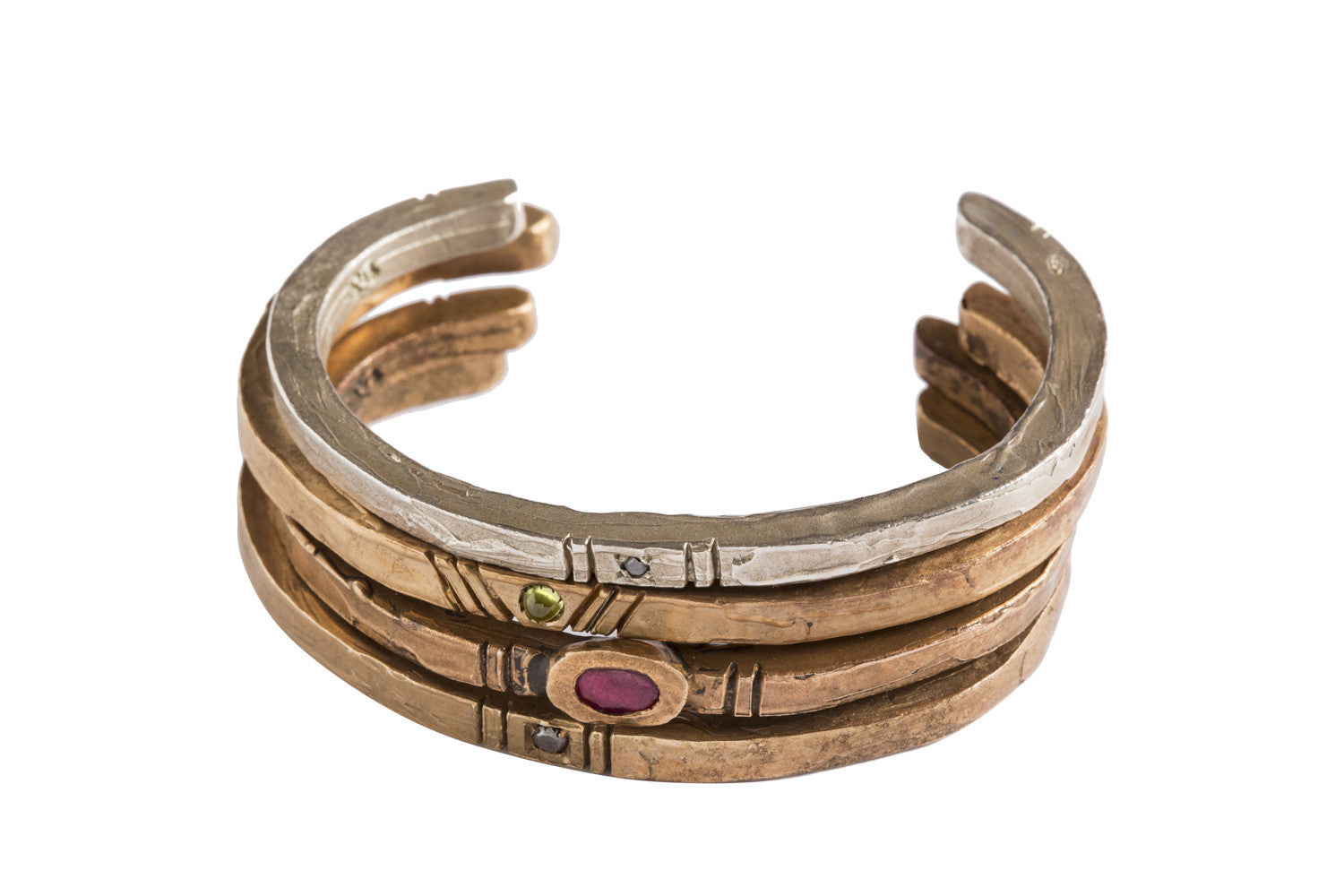 Minimalist antique bangles in bronze and silver