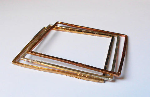 Square Bangles in Silver or Bronze by Simone Vera Bath - Art Jewellery Store: Song of Jewellery