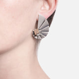Nautilus Shell Geometric Pyrite Earrings by Vangloria - Art Jewellery Store: Song of Jewellery