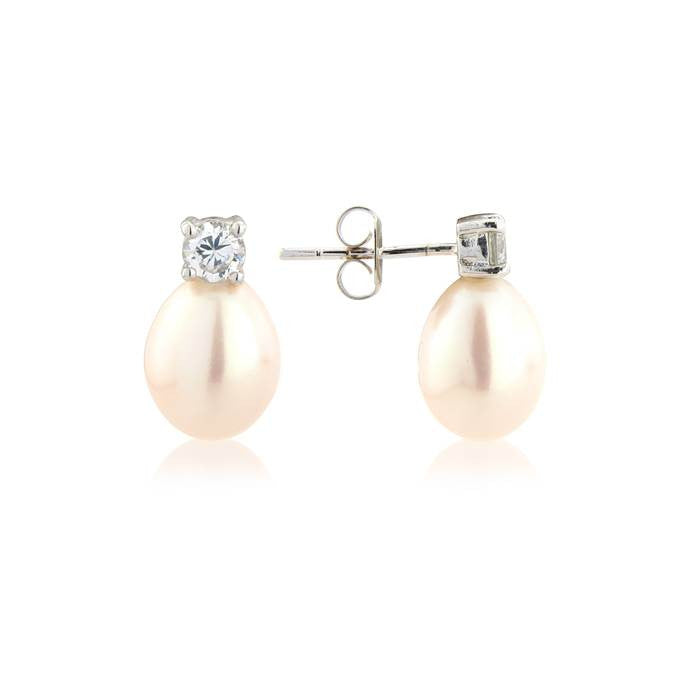 White Tear Drop Pear Earrings With Crystal