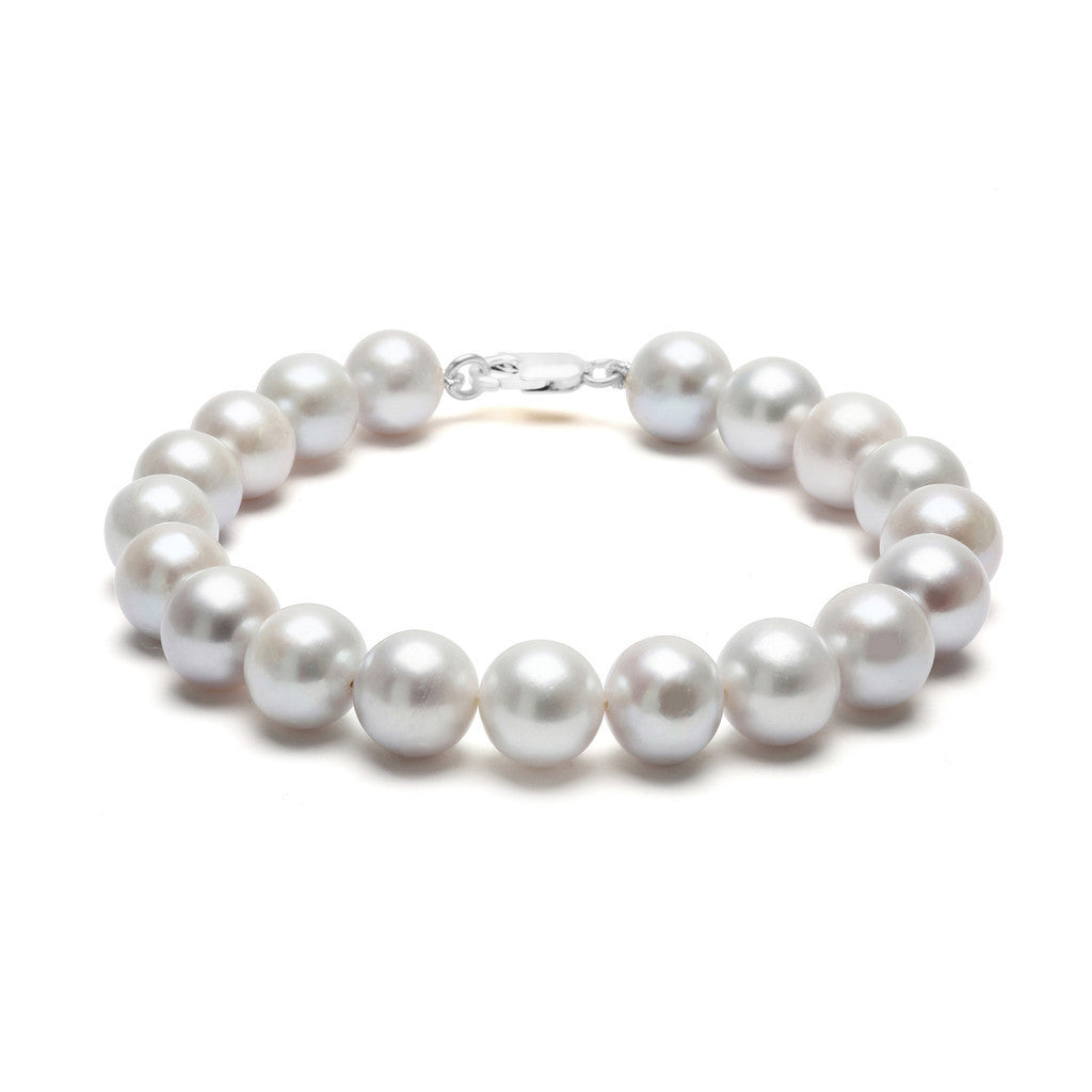 Classic Strung Grey Pearls Bracelet In Silver or Gold - Large Pearls