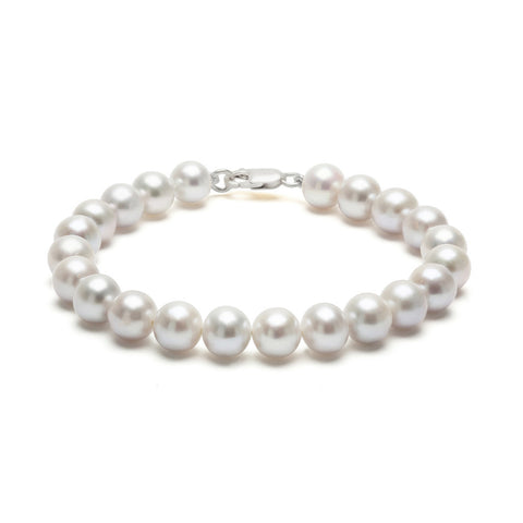 Classic Strung Grey Pearls Bracelet In Silver or Gold - Medium Pearls