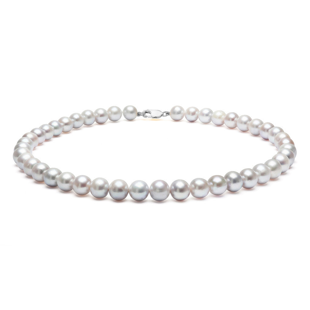 Classic Strung Grey Pearls Necklace in Silver or Gold - Large Pearls