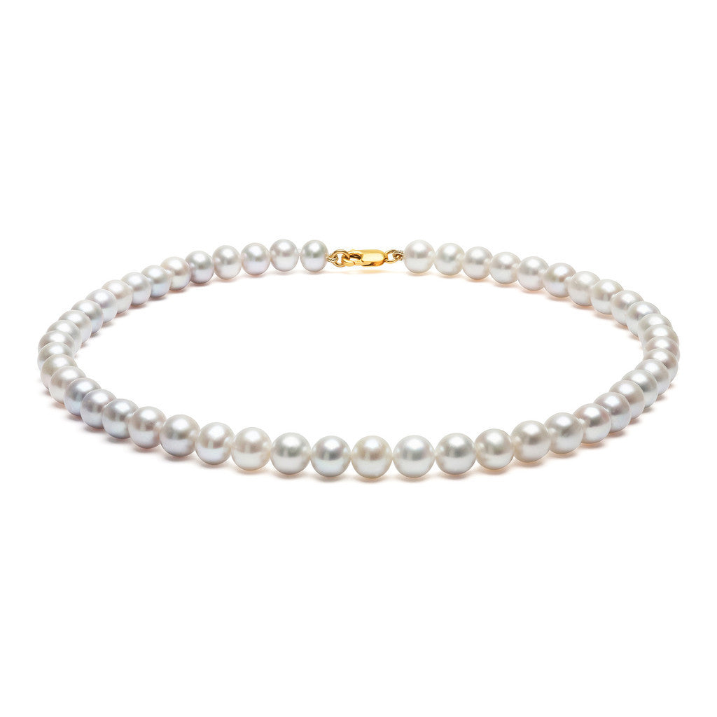 Classic Strung Grey Pearls Necklace in Silver or Gold - Medium Pearls