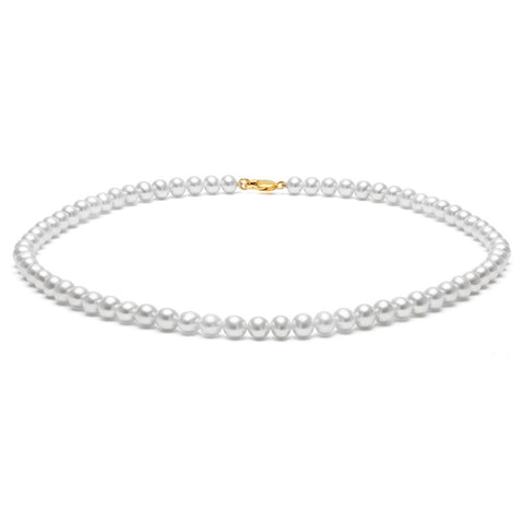 Classic Strung Grey Pearls Necklace in Silver or Gold - Small Pearls