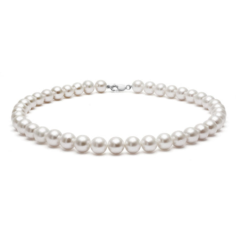 Classic Strung Grey Pearls Necklace in Silver or Gold - XL Pearls