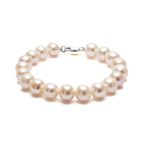Classic Strung White Pearls Bracelet In Silver or Gold - Large Pearls