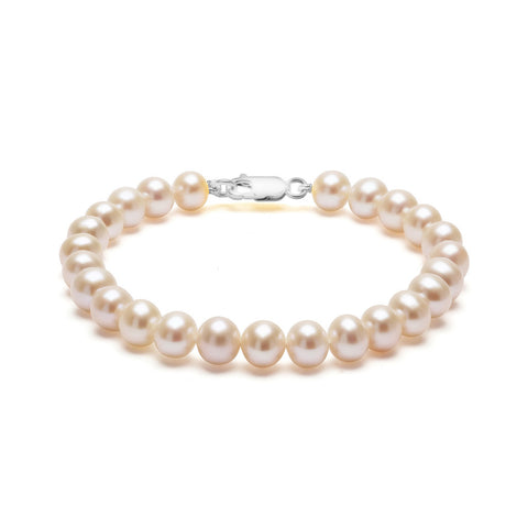 Classic Strung White Pearls Bracelet In Silver or Gold - Medium Pearls