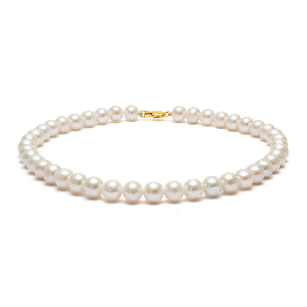 Classic Strung White Pearls Necklace in Silver or Gold - Large Pearls