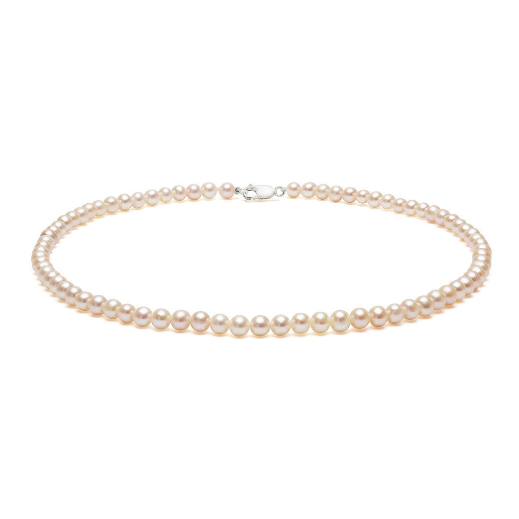 Classic Strung White Pearls Necklace in Silver or Gold - Small Pearls