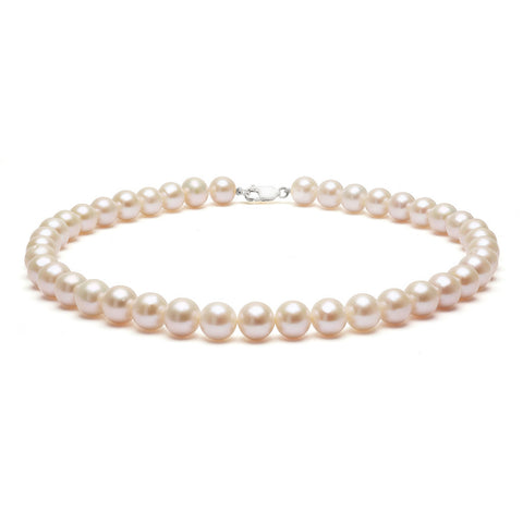 Classic Strung White Pearls Necklace in Silver or Gold - XL Pearls