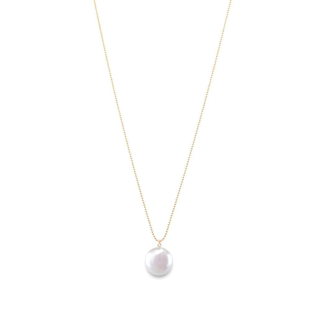 Sphera Disc Pearl Pendant Necklace | Shop Long Pearl Disc Necklaces | Shop ORA Pearls Online