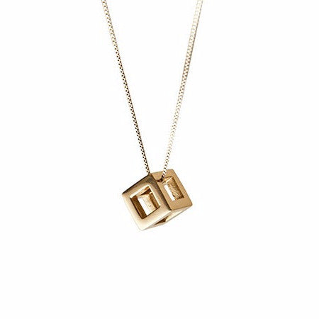 Q.BO Dice Pendant Necklace In Gold or Silver
