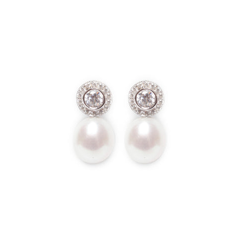 Cubic Zirconia Pearl Studs Earrings - White