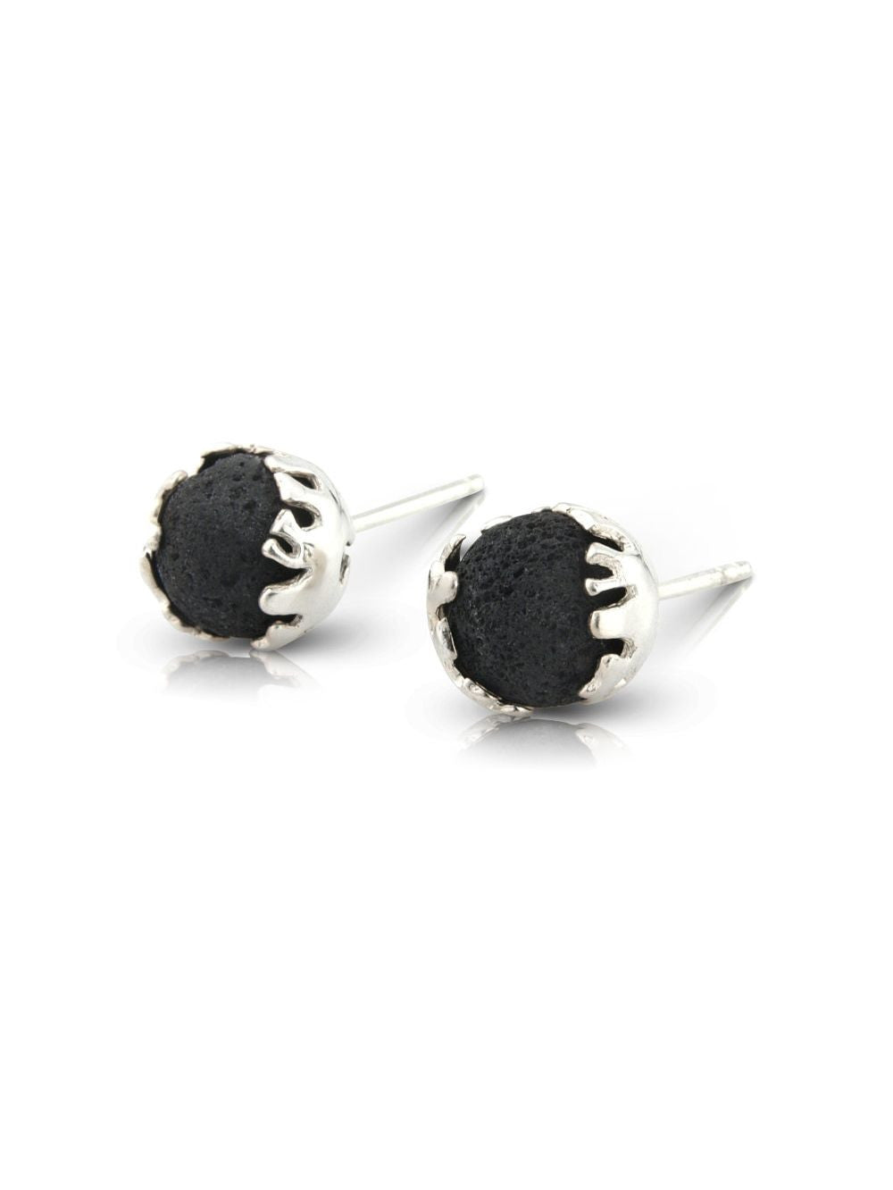 Lava Stone Silver Ear Studs - Earth Inspired Jewellery