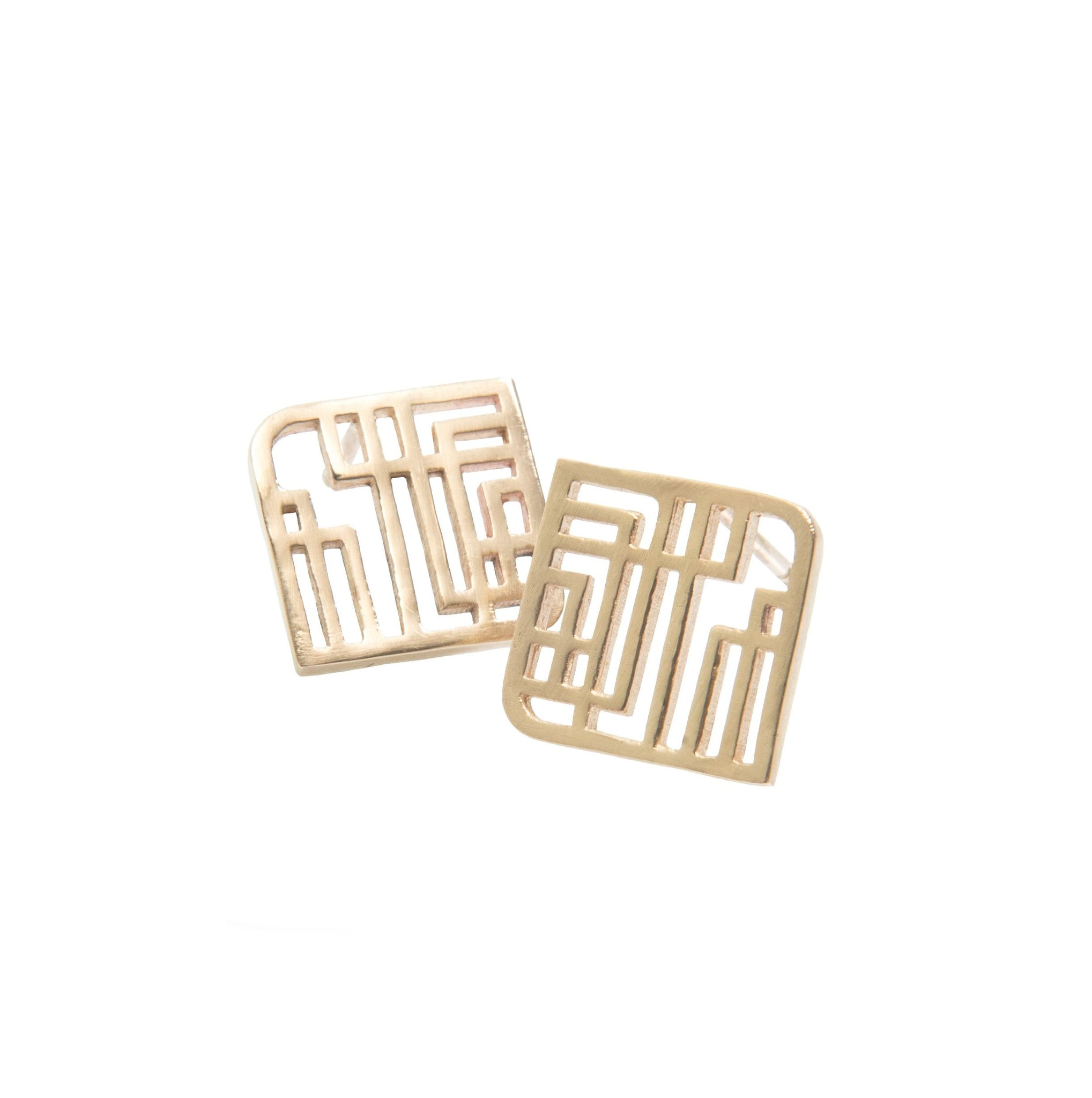 9ct Yellow Gold Fusion Stud Earrings by Miriam Wade - Art Jewellery Store: Song of Jewellery