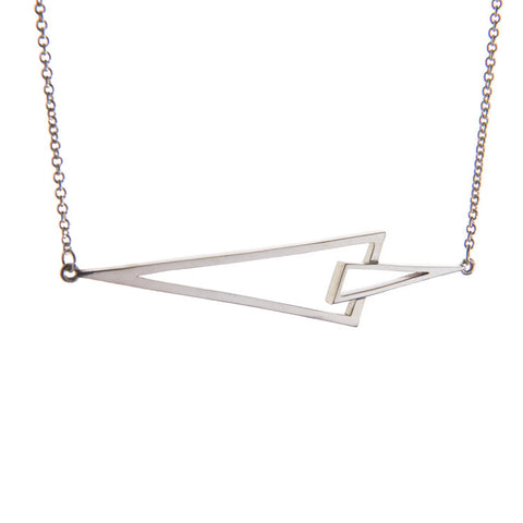 Flare Silver Triangle Necklace