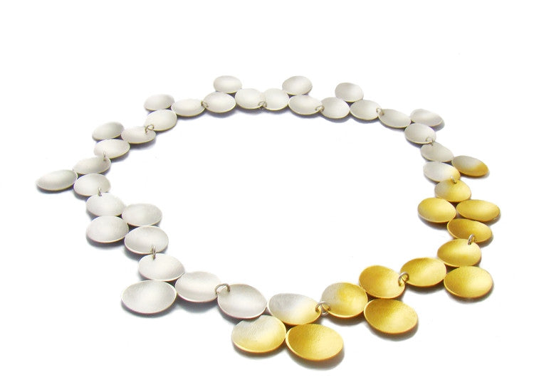 Gold and Silver Round Discs Designer Necklace - SOJ