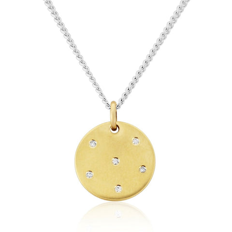 Cosmos 9ct Gold Pendant With Diamonds