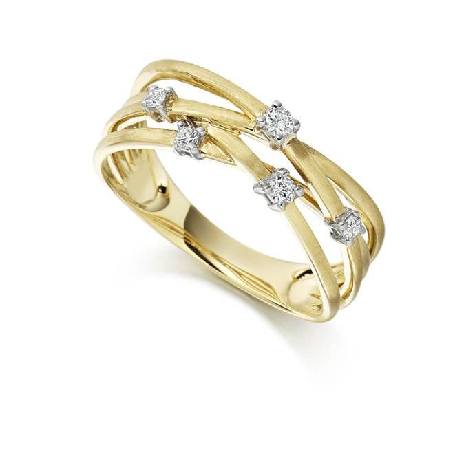 Multistrand 9ct Yellow Gold and Diamond Ring