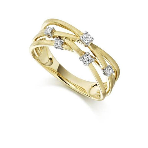 Multistrand 9ct Yellow Gold and Diamond Ring by Argent London - Art Jewellery Store: Song of Jewellery