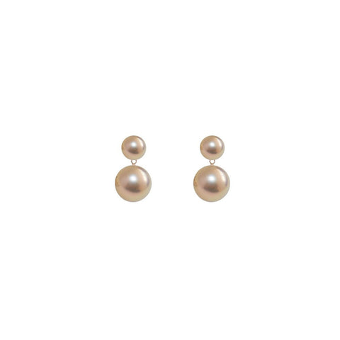 Double Pinky Gold Pearl Earrings