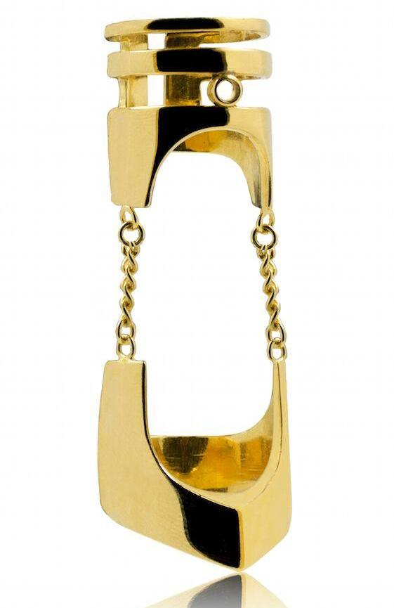 Bold gold articulated ring by British designer ROKUS. Chunky gold rings. African Jewellery